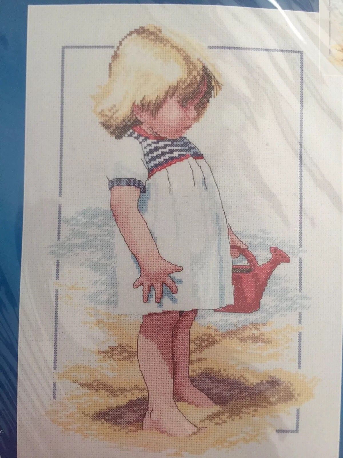 Janlynn Summer Afternoon Cross Stitch Kit Girl on Beach with Watering Can (23)