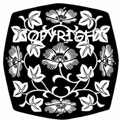 IVY FLOWER MEDALLION DESIGN NEW mounted rubber stamp