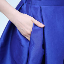 Lady PLEATED Ruffle MIDI Skirt Taffeta Midi Pleated Holiday Skirt-Blue,Plus Size image 5