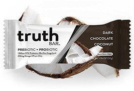 Truth Bar Prebiotic + Probiotic - Dark Chocolate Coconut 12 Pack - Low Sugar, Ve