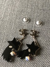 NEW AUTHENTIC CHANEL CC Shooting Star Dangle Long Earrings Crystal image 14