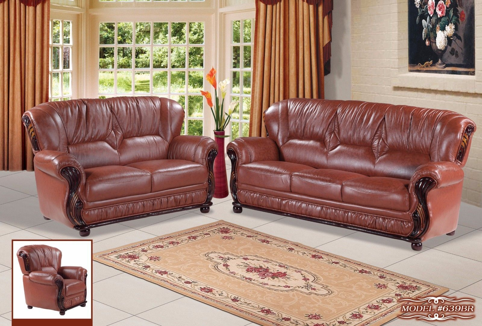 Meridian 639 Mina Living Room Set 3pcs in Brown Bonded Leather Traditional Style