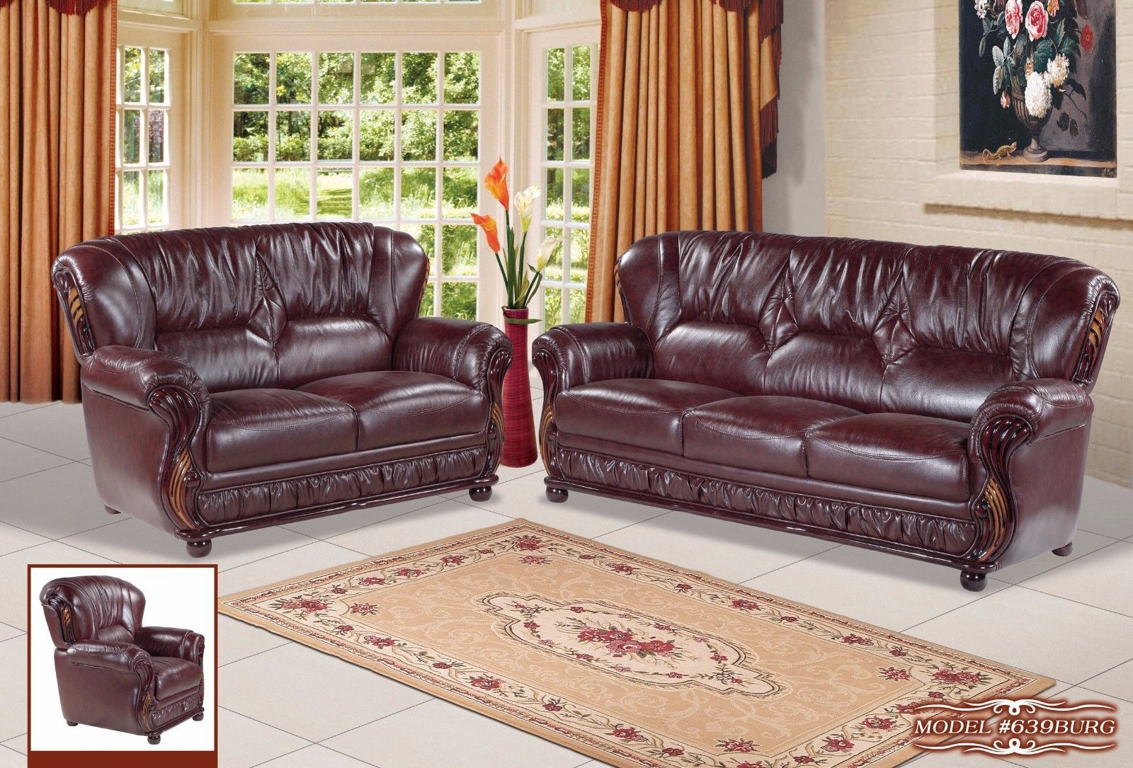Meridian 639 Mina Living Room Set 3pcs in Burgundy Bonded Leather Traditional