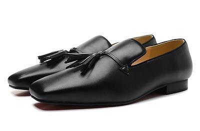 square toe blck tassel red bottom loafers dress shoes