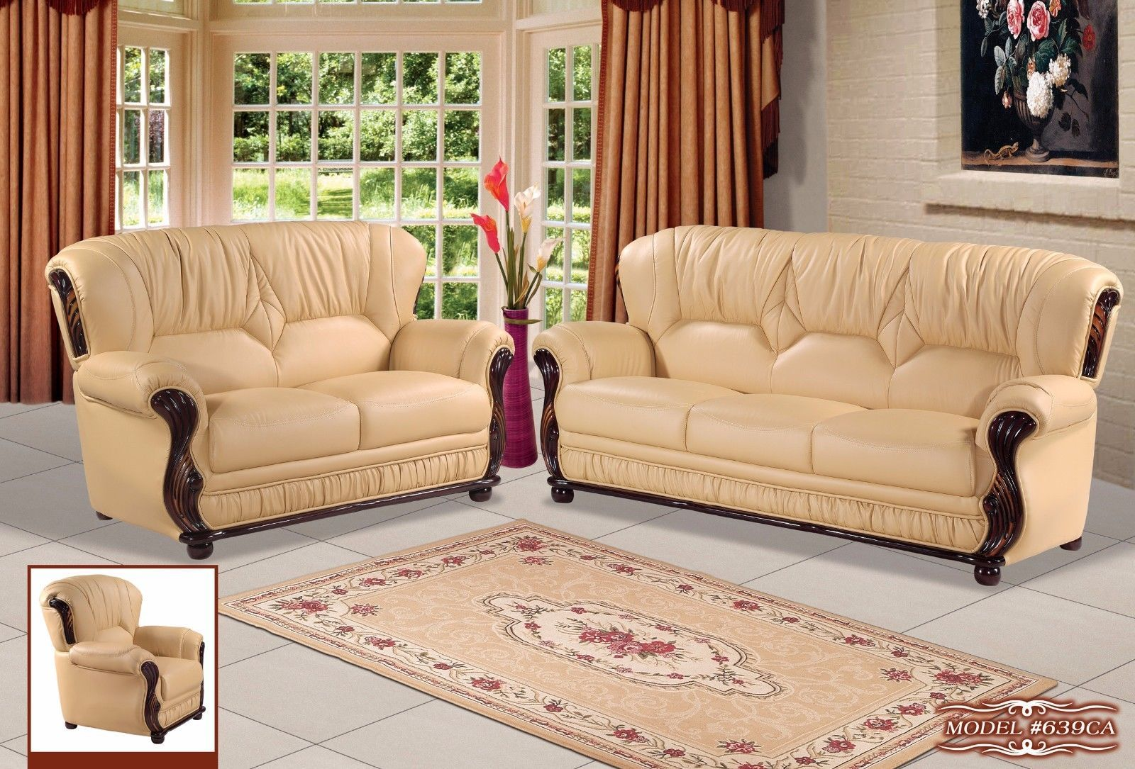 Meridian 639 Mina Living Room Sofa in Cappuccino Bonded Leather Traditional