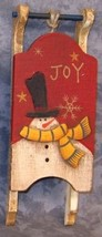 34043J -Joy Snowman Sleigh Mini  Wood Ornament - $4.95