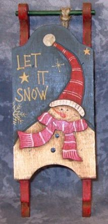 34043L -Let It Snow Sleigh Mini Wood Ornament