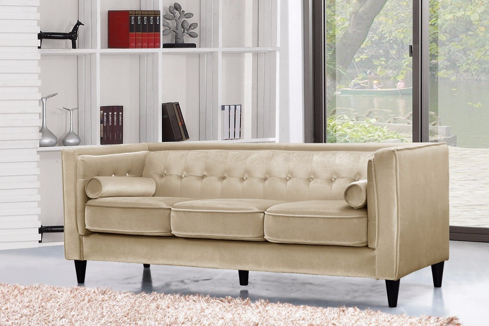 Meridian 642 Taylor Living Room Sofa in Beige Velvet Contemporary Style