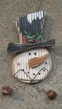 34906S- Snowman Head 9 inch /bells Wood Hangs by wire  - $4.95