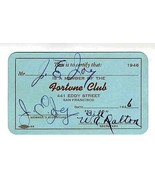 Fortune Club Membership Card 441 Eddy Street San Francisco California 1946 - $34.61