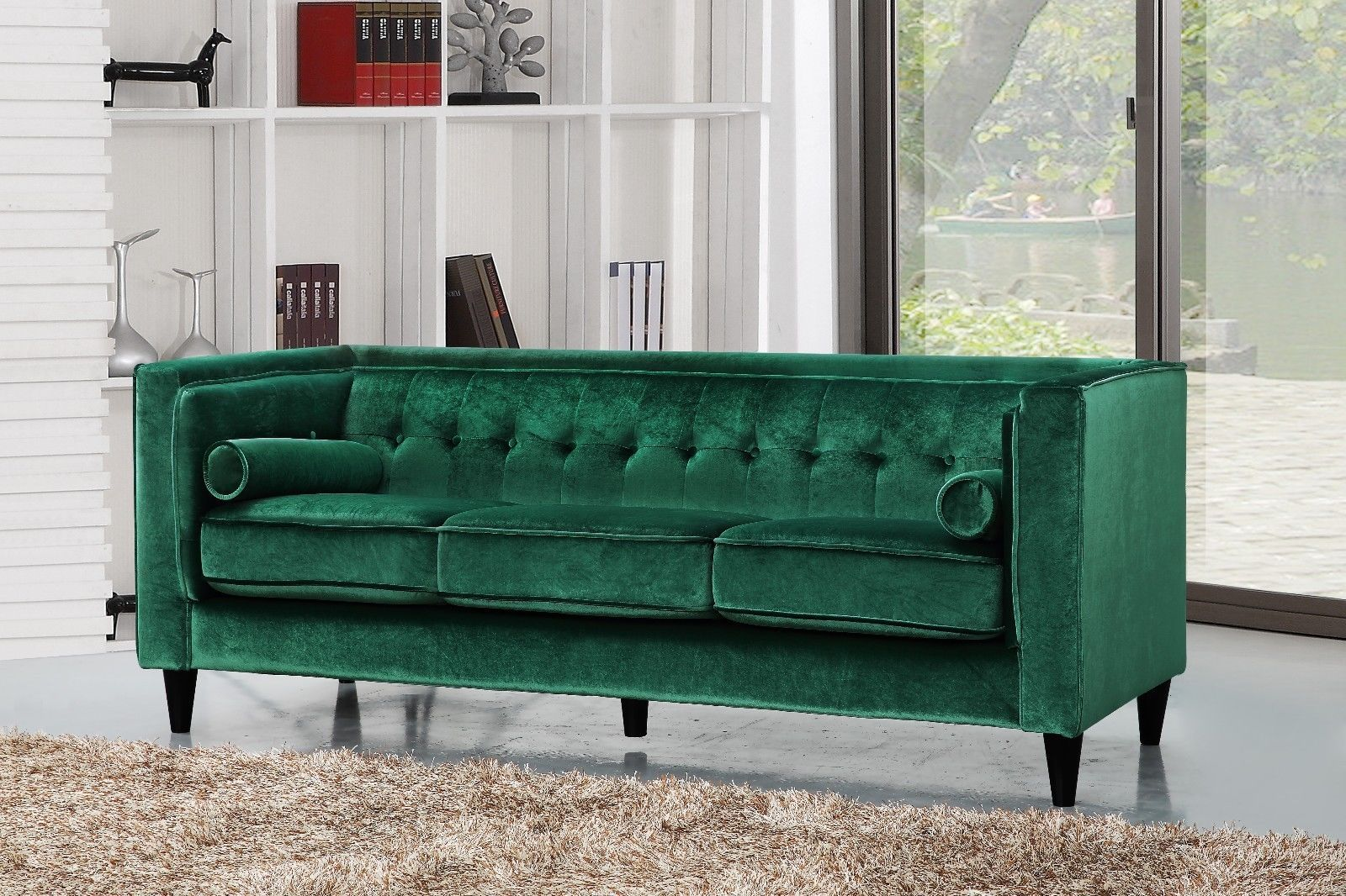 Meridian 642 Taylor Living Room Set 3pcs in Green Velvet Contemporary Style