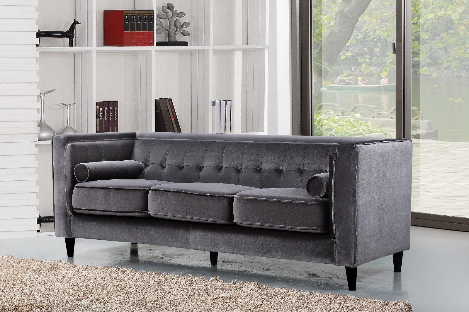 Meridian 642 Taylor Living Room Sofa in Grey Velvet Contemporary Style