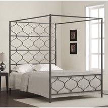 Queen Bed Canopy Luxury Furniture Metal Bedroom Sleep Relax Frame Lounge... - €517,50 EUR