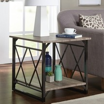 Rustic End Table Accent Furniture Living Room Steel Wood Reclaimed X Des... - $129.97