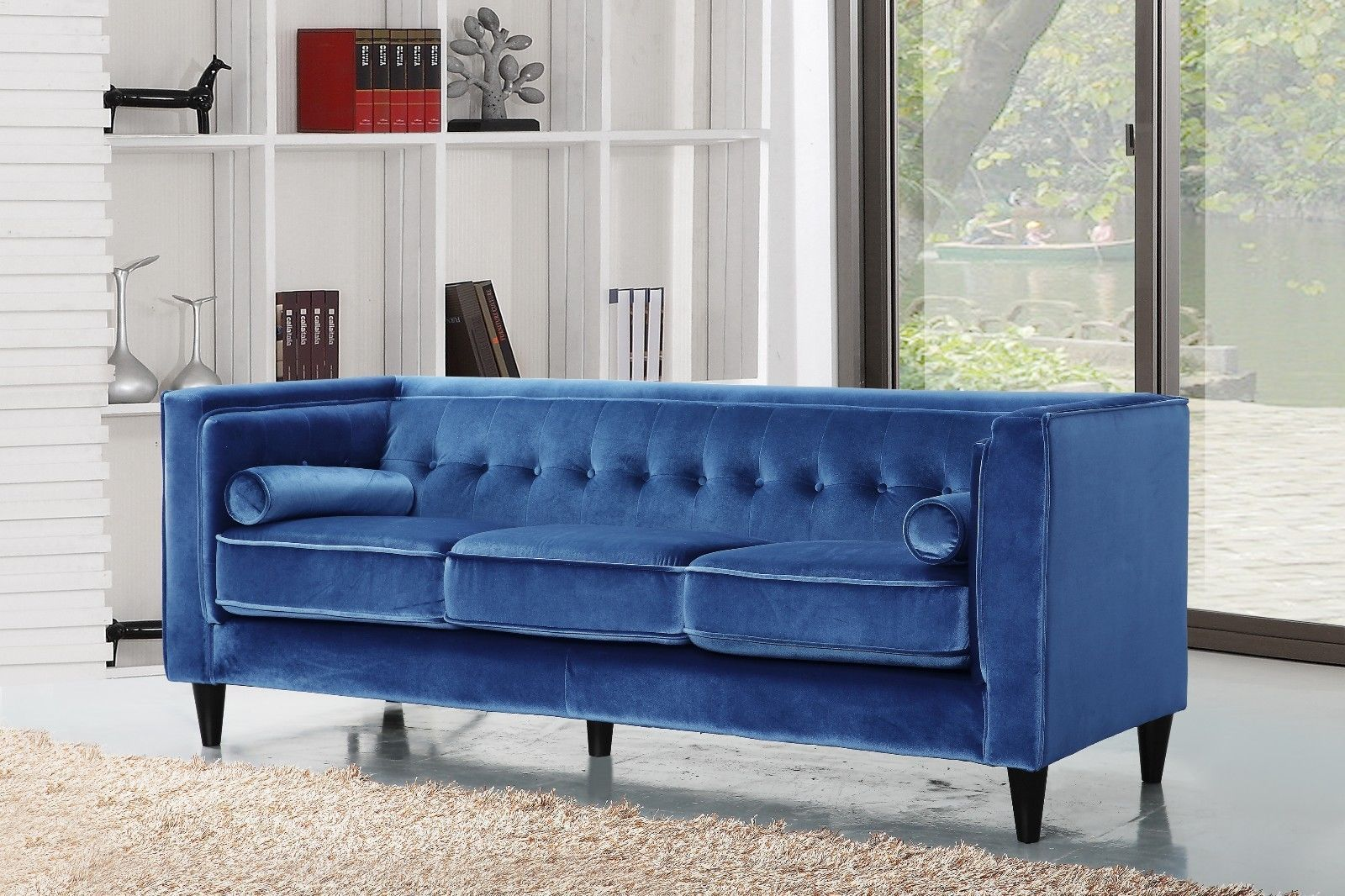 Meridian 642 Taylor Living Room Sofa in Light Blue Velvet Contemporary Style