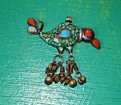 HUGE VINTAGE ETHNIC TIBETAN TURQUOISE CORAL 925  SILVER BIRD AND BELLS  ... - $75.74