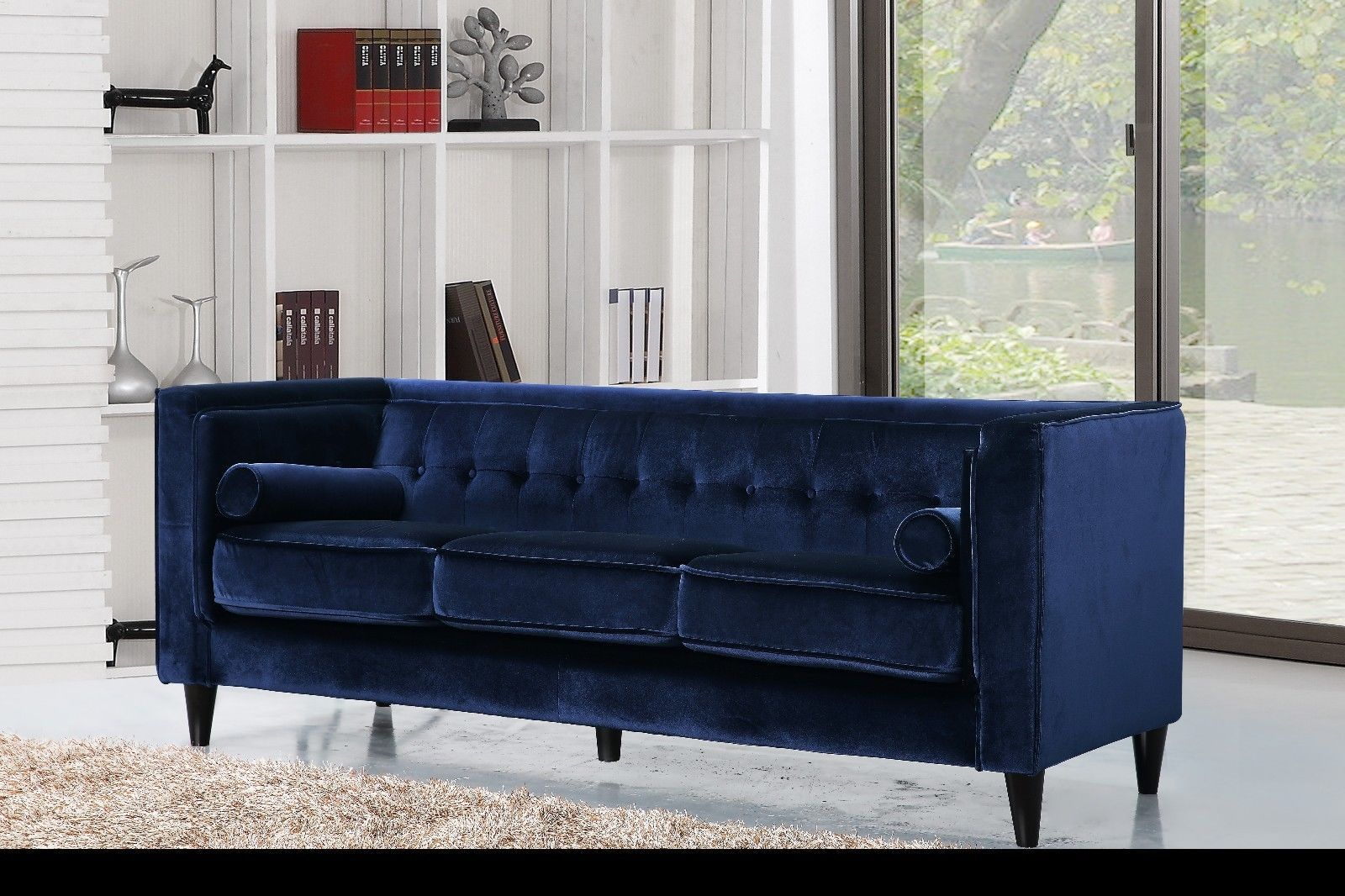 Meridian 642 Taylor Living Room Set 2pcs in Navy Velvet Contemporary Style