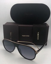 New Tom Ford Sunglasses NICHOLAI-02 Tf 624 01C 57-14 Black & Gold w/ Grey Fade - $409.95