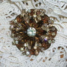 Vintage Juliana Rhinestone Art Glass Brooch Pin Bronze Overlay Bumpy Gla... - $122.99