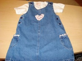 Sweet Innocence 4T overall set shirt EUC spring heart Girls Girl's youth... - $7.91