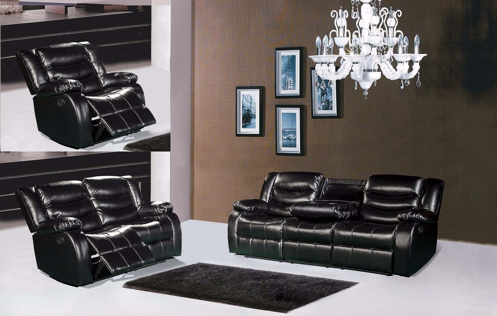 Meridian 644 Bonded Leather Living Room Sofa Set 3pc. Black Contemporary Style
