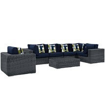 Summon 7 Piece Outdoor Patio Sunbrella® Sectional Set Canvas Navy EEI-23... - $3,661.75