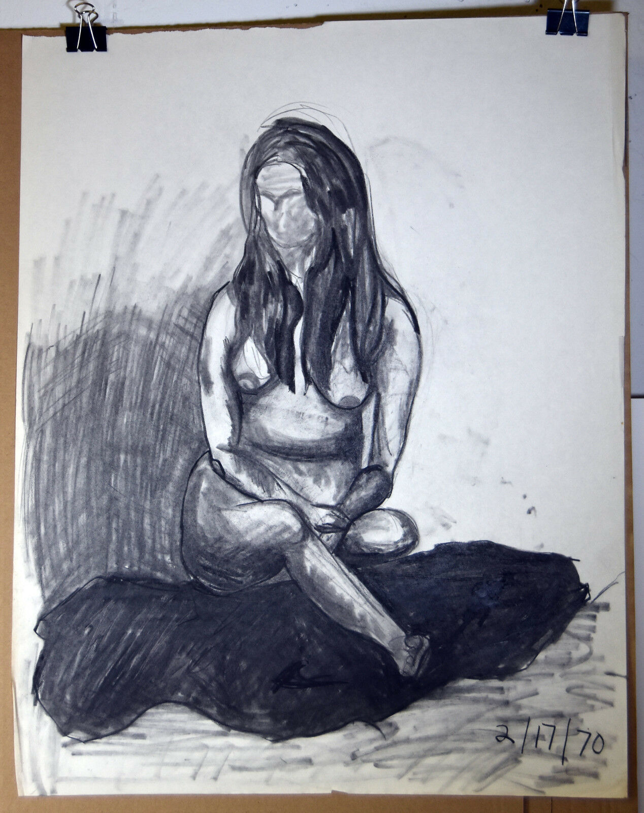 "24"" Vintage '70 Pencil Charcoal Nude IX Womans Body Sketch Lynn Martin Art"