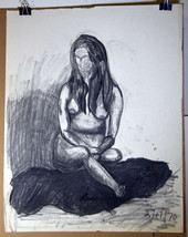 "24"" Vintage '70 Pencil Charcoal Nude IX Womans Body Sketch Lynn Martin Art - $47.49"