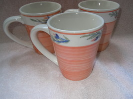 Peach & Floral Stoneware Mugs Group of 3 New - $4.99
