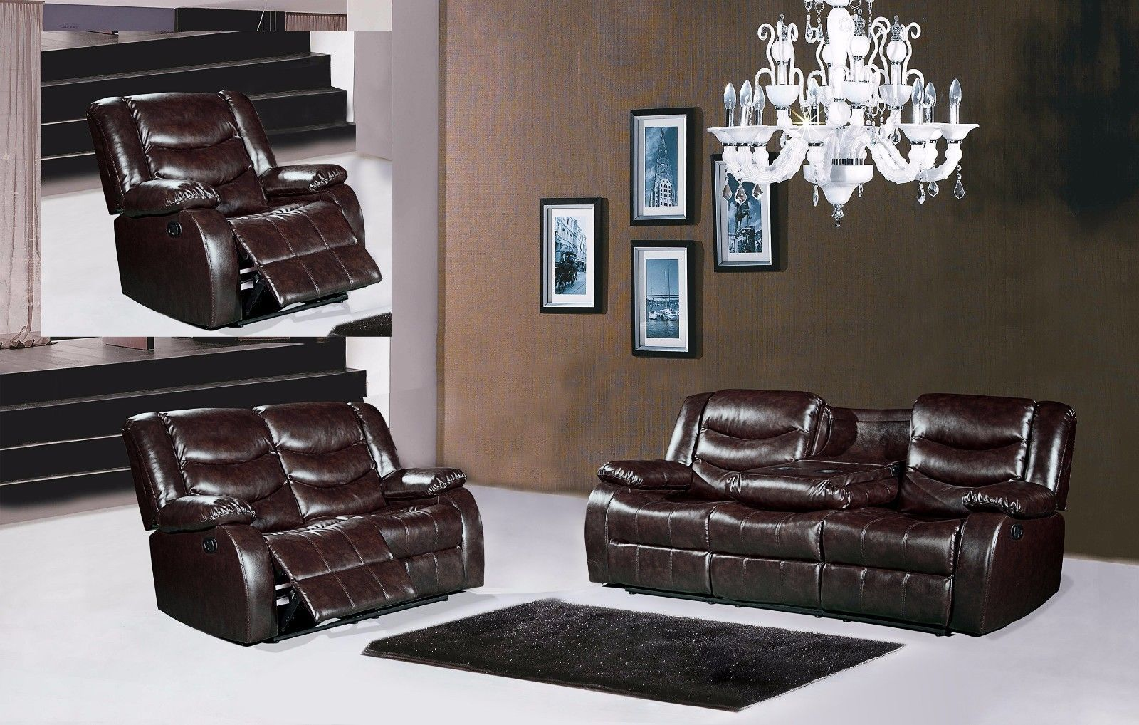 Meridian 644 Bonded Leather Living Room Sofa Set 2pc. Brown Contemporary Style