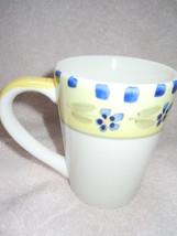 Yellow & Blue Floral Stoneware Mug  New - $1.99