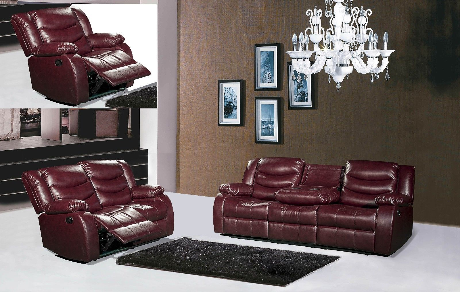 Meridian 644 Bonded Leather Living Room Sofa Set 3pc.Burgundy Contemporary Style