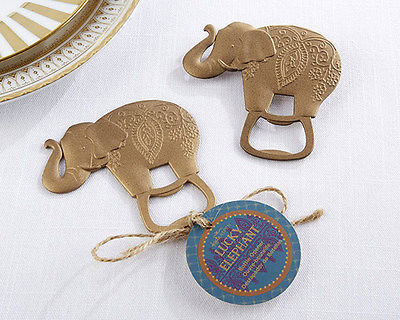 1 Lucky Golden Elephant Bottle Opener Wedding Reception Gift Party Birthday