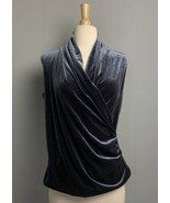 Valerie Bertinelli Gray Velvet Blouse Top Size M  - $12.34
