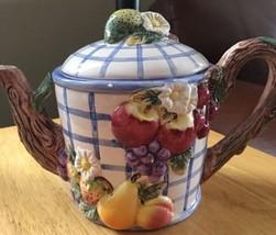 """Omnibus By Fitz & Floyd Teapot """"Fruit Arbor"""" 1994 - $29.00"""