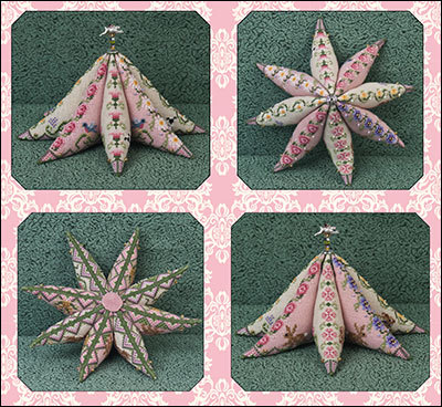Primary image for Eight (8) Point Star Garden pincushion cross stitch chart beads Just Nan