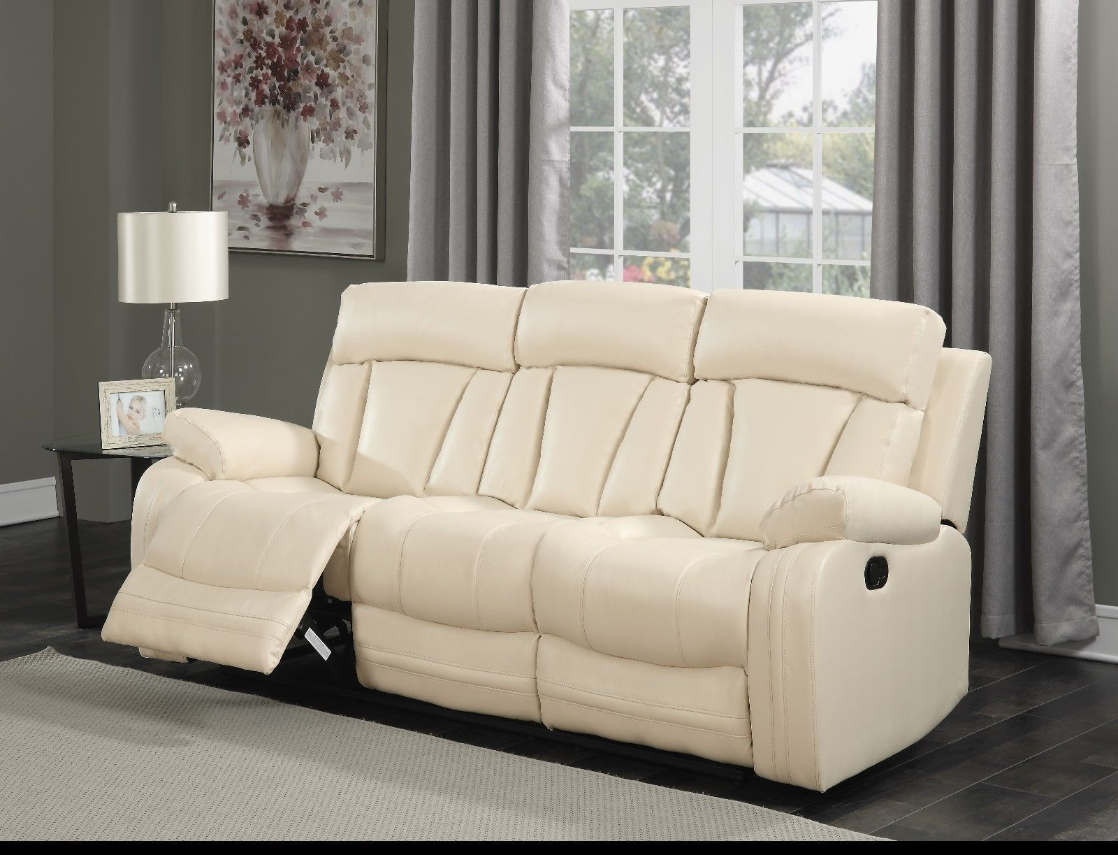 Meridian 645 Avery Living Room Sofa in Beige Bonded Leather Contemporary Style