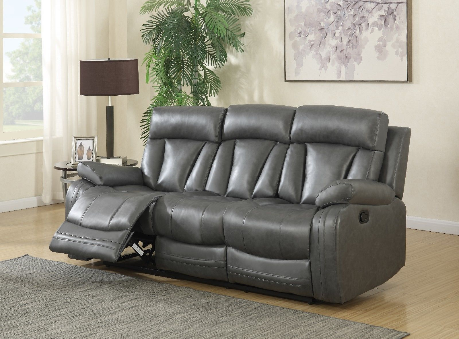 Meridian 645 Bonded Leather Living Room Sofa Set 2pc. Grey Contemporary Style