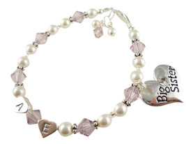 Light Amethyst Big Little Sister Bracelet, Custom Initials, Swarovski Pearl - $27.50