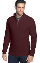 Tasso Elba Men's Red Wine Htr 1/4 Zip Sweatshirt Pullover Sweater Small - $29.99