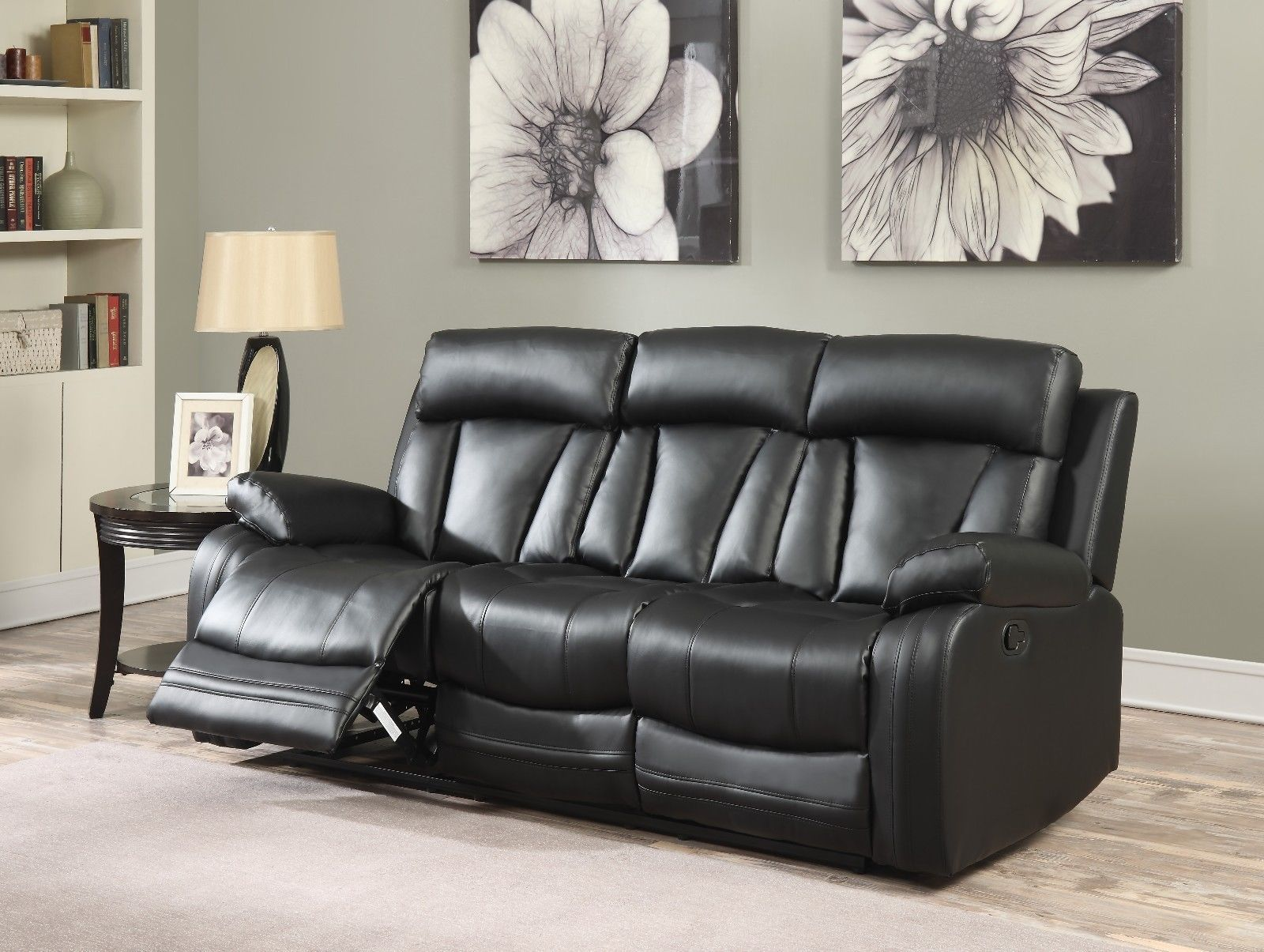 Meridian 645 Bonded Leather Living Room Sofa Set 2pc. Black Contemporary Style