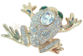 Frog Pin Brooch Clear Crystal Green Eyes Animal Theme Gold Tone Animal Jewelry - $24.99