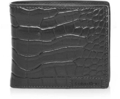 New Calvin Klein Ck Men's Leather Wallet Id Billfold With Coin Case Black 79600