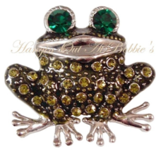 Frog Pin Brooch Olive Emeral Green Crystal Silvertone Metal Animal Theme Jewelry - $14.99