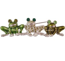 Frog Pin Brooch Trio Green Crystal Enamel Silvertone Metal Animal Theme Jewelry - $16.99
