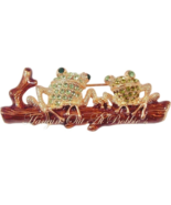 Frog Pin Brooch Duo Green Crystal Sitting On A Log Goldtone Metal Animal... - $16.99