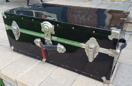 "Vtg Vacationer Trunk/Chest-Metal-12x15.5x30""-Black-Key & Lock-Handles La... - €82,07 EUR"