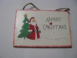 WS89 - Merry Christmas Santa Wood Sign Hangs by Jute  - $2.25