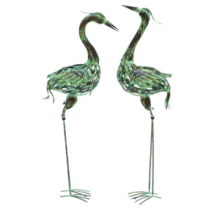 NEW Deco Metal Decorative Crane Statues Distressed Green/Brown Finish Se... - $70.50