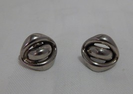 Vintage Lisner Silver Tone Clip Screw On Earrings - $11.88